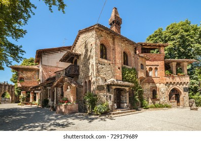 Grazzano Visconti, Italy - July 18, 2016: Grazzano Visconti - a village in medieval style, built between 1900 and 1941. Now it is a city of artisans