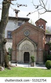 Grazzano Visconti, the old medieval church
