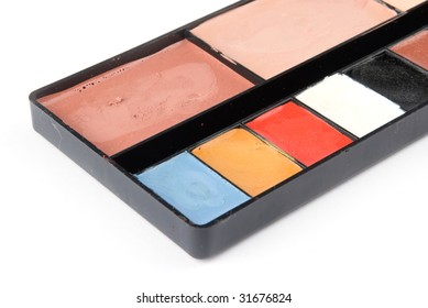 grease-paint box on the white background