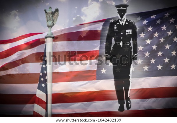Great for 4th of July, Memorial Day or Veterans day. Soldier silhouette, american eagle and US National flag.
