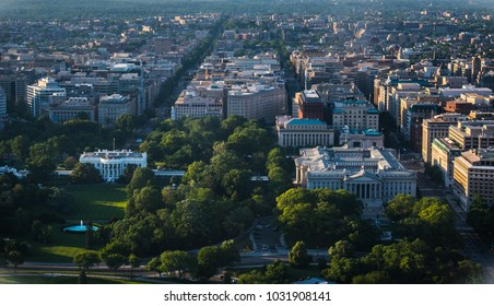 Great Aerial view of Downtown Washington, DC, USA (from the National Monument).