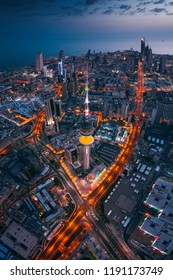 Great aerial view of kuwait city at night