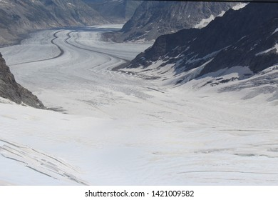 The Great Aletsch Glacier in the Jungfrau-Aletsch protected area of the Swiss Alps