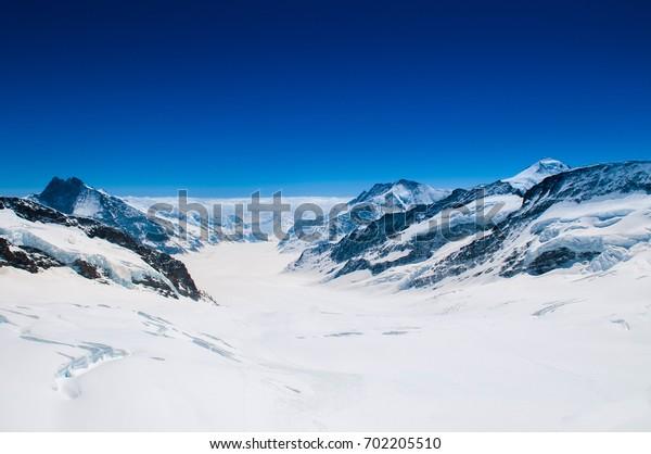 Great Aletsch Glacier, Jungfraujoch, Swiss Alps Snow Mountain Landscape of Switzerland.