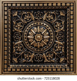 great amazing closeup view of ceiling decoration tiles, panel background