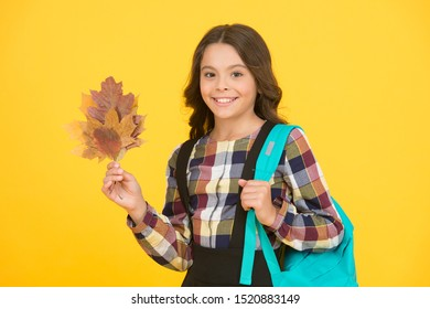 Great back to school deals on everything you need to learn in style. Schoolgirl with backpack and fallen leaves. Happy schooling. Cute schoolgirl going to school. Small schoolgirl concept. Little kid.