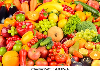 Great background made of vegetables and fruits. Food concept. Top view