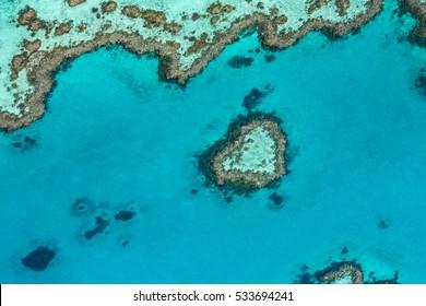 Great Barrier Reef from above, Queensland, Australia. Heart reef
