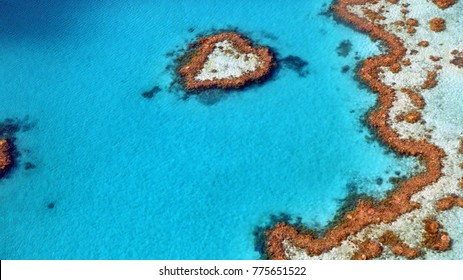 Great Barrier reef at Whitsunday Islands, heart reef, Australia, 2016, aerial view