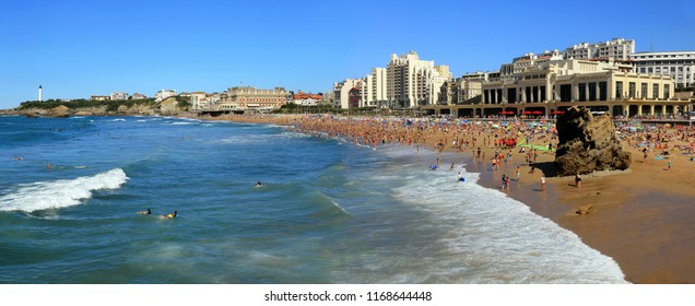 Great beach of Biarritz summer on the Basque coast in France.