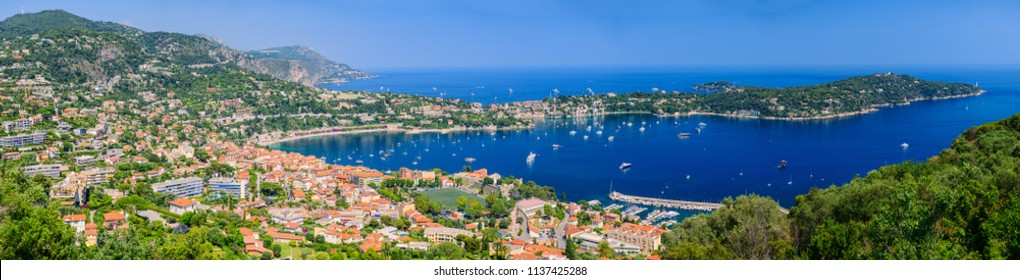 Great beautiful panorama of Villefranche-sur-Mer. French Riviera. Cote d'Azur