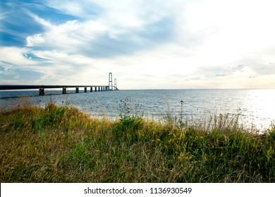 The great belt bridge, Storebelt in Denmark, connecting Zealand with Funen.