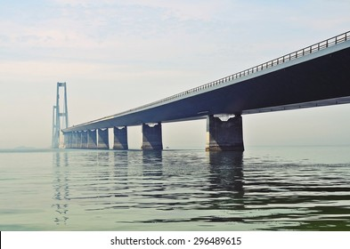 The Great Belt Bridge (The East Bridge) in Denmark that runs between the Danish islands of Zealand and Funen.