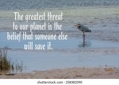 Great blue heron at Cape San Blas Florida beach with nature quote greatest threat to our planet is believing someone else will save it.