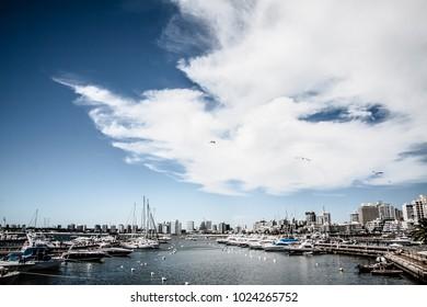 Great blue sky with cloud at Punta Del Este Marine