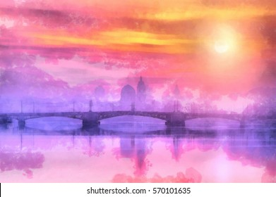 Great Bridge at sunset in the city. Watercolor painting