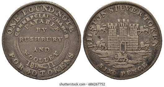 Great Britain British Bilston silver coin token 6 six pence 1811, sign payable by Rushbury and Woolley within circular belt, fortress with towers and gate surrounded by lions, value below,