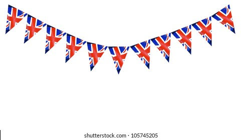 Great Britain British Flag pennants buntings isolated on white background with room for your text
