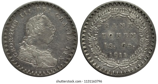 Great Britain British silver coin token 1 one shilling 6 six pence 1811, laureate bust of King George III, denomination and date within circular wreath,