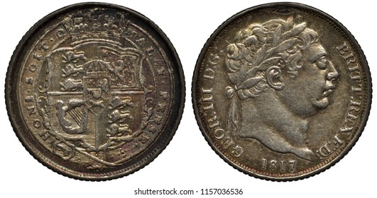 Great Britain British silver coin 6 six pence 1817, shield with design surrounded by belt (garter), head of King George III right,