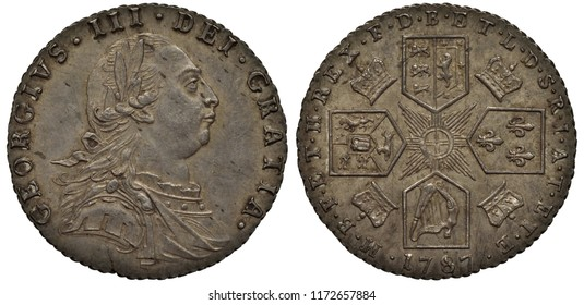 Great Britain British silver coin 6 six pence 1787, bust of King George III right, four crowned shields with lions, lily and harp in cross-like pattern, stylized sun in center, crowns between shields,