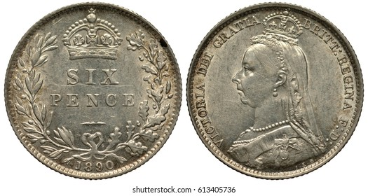 Great Britain British silver coin 6 six pence 1890, value flanked by laurel and oak branches, crown above, Queen Victoria bust left,