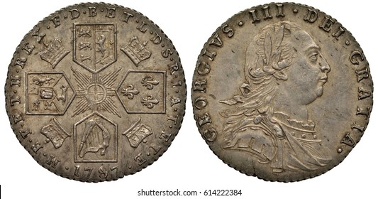 Great Britain British silver coin 6 six pence 1787, four crowned shields with lions, lily and harp in cross-like pattern, stylized sun in center, crowns between shields, bust of King George III right