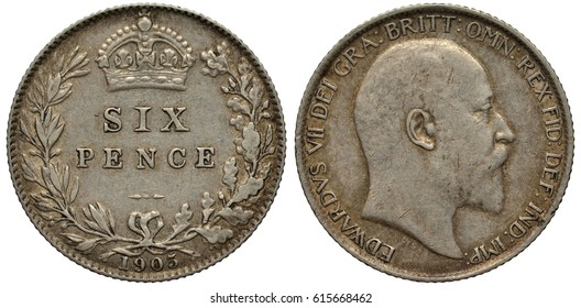 Great Britain British silver coin 6 six pence 1905, value flanked by laurel and oak branches, crown above, King Edward VII head right,