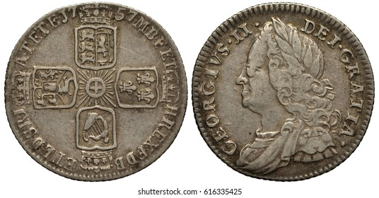 Great Britain British silver coin 6 six pence 1757, four crowned shields with lions, lily and harp in cross-like pattern, stylized sun in center, roses between shields, bust of King George II left,