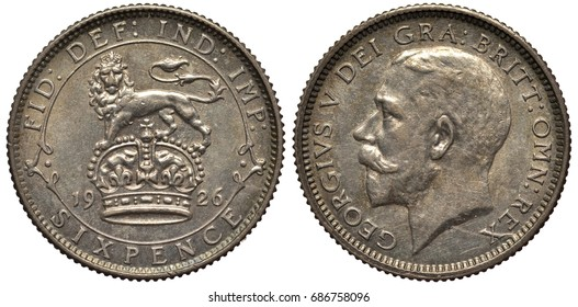 Great Britain British silver coin 6 six pence 1926, lion standing on crown divides date, value below, head of King George V left,