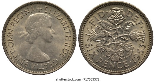 Great Britain British silver coin 6 six pence 1953, bust of Queen Elizabeth II, floral composition formed by leek, thistle, clover and rose, value and date below,