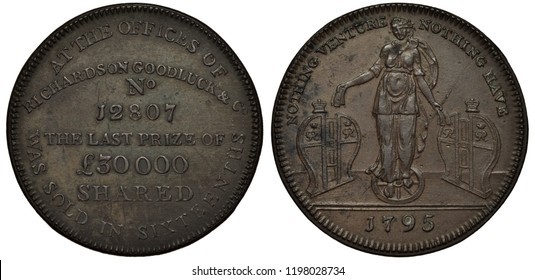 Great Britain British token 1/2 halfpenny 1795, Conder Token (18th Century Provincial Token) issued by Richardson Goodluck and Co., text, woman between two doors holding banknotes,