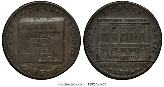 Great Britain British token 1/4 quarter penny 1794, Conder Token (18th Century Provincial Token) issued by Lambe and Son in Bath, box marked with hieroglyphs, India House at Stall Street in Bath,