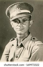 GREAT BRITAIN, CIRCA 1940: Vintage portrait of soldier in British uniform
