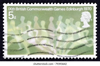 GREAT BRITAIN - CIRCA 1970: A stamp printed in Great Britain to commemorate the 9th British Commonwealth Games in Edinburgh, circa 1970.