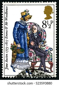 GREAT BRITAIN - CIRCA 1975: A used postage stamp from the UK, depicting an illustration of Emma and Mr. Woodhouse in the novel Emma by Jane Austen, circa 1975.