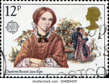 GREAT BRITAIN - CIRCA 1980: A stamp printed in the Great Britain stamp features Charlotte Bronte (Jane Eyre), circa 1980