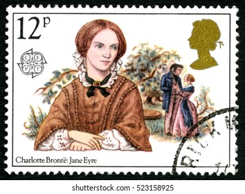 GREAT BRITAIN - CIRCA 1980: A used postage stamp from the UK, celebrating the novel Jane Eyre by English writer Charlotte Bronte, circa 1980.