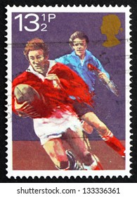 GREAT BRITAIN - CIRCA 1983: a stamp printed in the Great Britain shows Rugby football, Centenary of Welsh Rugby Union, circa 1983