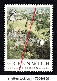 GREAT BRITAIN - CIRCA 1984: Stamp printed in Great Britain showing the Royal Observatory in Greenwich Park to commemorate 100 years of establishing the Greenwich Meridian Time line, circa 1984.