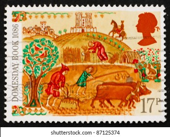 GREAT BRITAIN - CIRCA 1986: A stamp printed in the Great Britain shows Peasant, 900th Anniversary of Domesday Book, first nationwide survey in British history, circa 1986