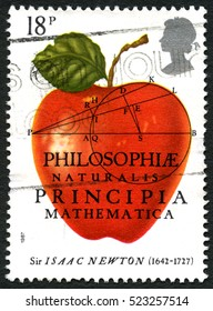 GREAT BRITAIN - CIRCA 1987: A used postage stamp from the UK, celebrating the 300th Anniversary of the first publication of The Principia Mathematica by Sir Isaac Newton, circa 1987.