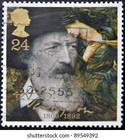 GREAT BRITAIN - CIRCA 1992: a stamp printed in the Great Britain shows Alfred Lord Tennyson, centenary of death, circa 1992
