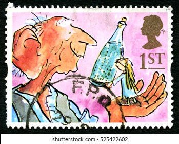GREAT BRITAIN - CIRCA 1993: A used postage stamp from the UK, depicting an illustration from the novel The BFG by Roald Dahl, circa 1993.