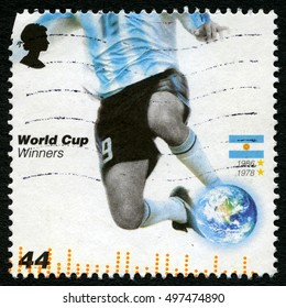 GREAT BRITAIN - CIRCA 2006: A used postage stamp from the UK, issued to commemorate past Football World Cup Winners Argentina, circa 2006.