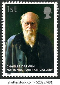 GREAT BRITAIN - CIRCA 2006: A used postage stamp from the UK, depicting an image of a painting of Charles Darwin which is on display at the National Portrait Gallery, circa 2006.