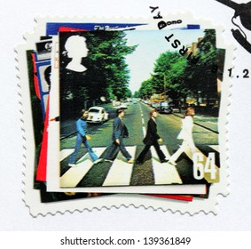 """GREAT BRITAIN - CIRCA 2007: a stamp printed by GREAT BRITAIN shows the Beatles album """"Abbey Road"""" cover, circa 2007."""