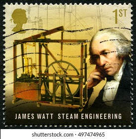 GREAT BRITAIN - CIRCA 2009: A used postage stamp from the UK, commemorating the work of famous inventor and mechanical engineer James Watt, circa 2009.