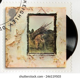 GREAT BRITAIN - CIRCA 2010: A stamp printed by GREAT BRITAIN shows Led Zeppelin album Led Zeppelin IV (1971) cover, circa 2010.