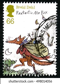 GREAT BRITAIN - CIRCA 2012: A used postage stamp from the UK, depicting an illustration of Fantastic Mr Fox - a story written by Roald Dahl, circa 2012.